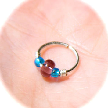 Small Cartilage Earrings, Light Blue and Plum Beaded Nose Ring, Nose Hoop  Ear Cuff Helix Hoop, Nose Rings, Seamless Hoop, Piercing Jewelry