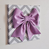 Baby Nursery Wall Decor Large Lilac Bow on Gray and by bedbuggs