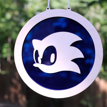 Sonic the Hedgehog Suncatcher and Wall Art for Old School Gamers of Sega Genesis - Gaming Hanging Home Decor