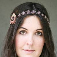 Beaded tie headband with flower and feathers by BeSomethingNew