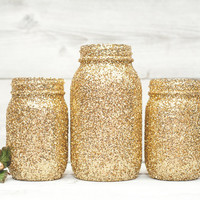 Gold glitter wedding decor mason jars, table decor centerpieces or New Years party decor.