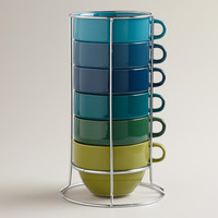 Jumbo Cool Ombre Stacking Mugs, Set of 6 - World Market