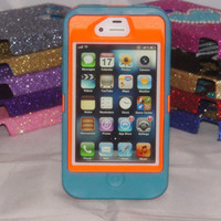 iPhone 4/4S Case Custom Otterbox Teal/Orange Defender Series for Apple iPhone 4/4S