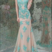 Long Noble Applique Pageant Prom Formal Party Ball Evening Dresses Wedding Gown