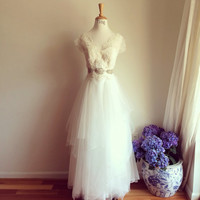 Bella-custom lace tulle wedding dress-V neck sleeveless or short sleeves