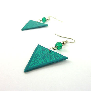 Recycled CD Earrings : Aqua blue inverted triangles with green scrolls - by Savousepate