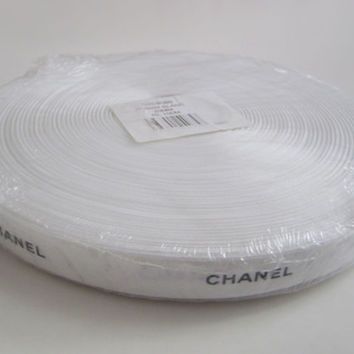 """100 METERS - Authentic CHANEL Ribbon White with Black Logo Letters 3/8"""" or 3/4"""" DIY Headband Hairbow / Gift Wrap / Scrapbooking / Trim"""