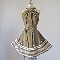 $49.99 Dress / Taupe / Vintage lace / Ruffles / by AtelierSignature
