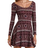 Long Sleeve Printed Skater Dress by Charlotte Russe - Multi