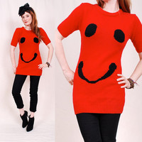 Adorable Vintage SMILEY FACE Sweater bold red by paramountvintage