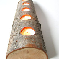 New reduced price. Was 27.75 now 20.75 !! Split log tea light candle holder. Rustic Douglas Fir wood tea light candle holder.