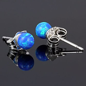 4mm Caribbean Blue Opal Ball Stud Post Earrings by 1000jewels