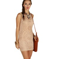 Promo-pink Medallion Crochet Shift Dress