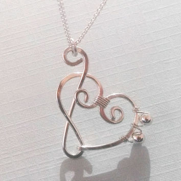Sterling Silver Treble Clef and Bass Clef Heart by wirewrap