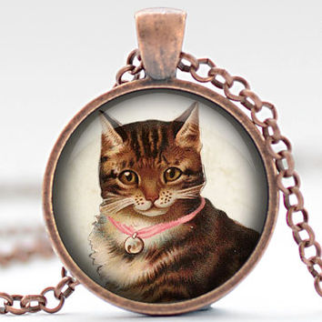 Vintage Tabby Cat Necklace, Cat Jewelry, Kitten Pendant, Tabby Cat Charm, Your Choice of Finish (1178)