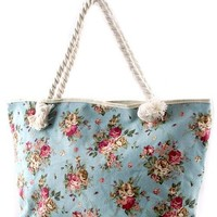 Shabby Chic Floral Print Oversized Tote in Blue | Sincerely Sweet Boutique