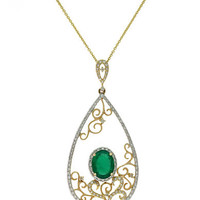Effy Brasilica 14Kt. Yellow Gold Emerald and Diamond Pendant Necklace