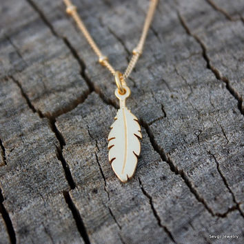 Gold Feather Necklace - 24K Gold Feather Charm . Satellite Chain . Native American . Hand Stamped Gift Box