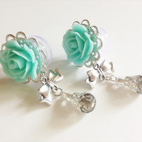 """Girly Rose Plugs 00g Dangle Plugs with Bows 1/2 inch, 9/16"""" (14mm) Ear Plugs Body Jewelry Gauges with Dangles Choose From 20 Colors"""