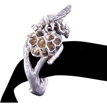Organic Ring Tree Branch Ring Real Wasp Nest Twig Ring Fine Silver