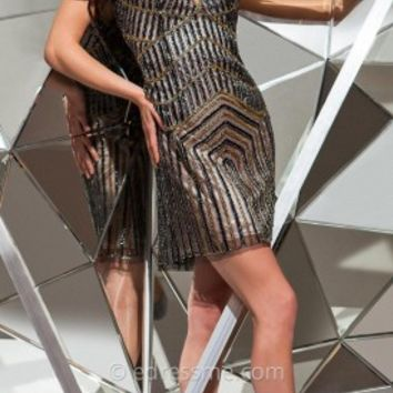 Linear Beaded Mini Prom Gown by Tony Bowls Shorts