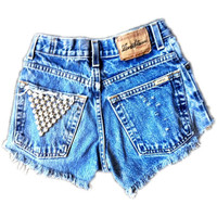 Studded vintage denim shorts by Omeneye on Etsy