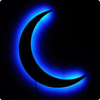 Crescent Moon Night Light Blue Lighted Wall Art by LuxChroma