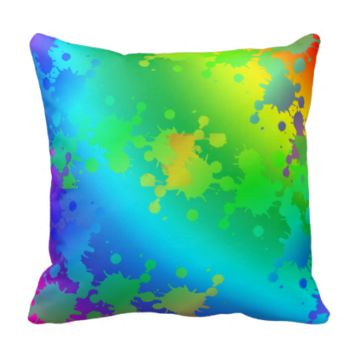 Multicolored and colorful metallic color splash pillows