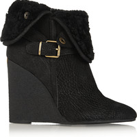 Burberry Shoes & Accessories - Shearling-lined textured-leather wedge ankle boots
