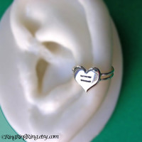 Equal Love Heart ear cuff on double band in 925 solid sterling silver jewelry - Show your support for gay marriage and equal rights - Left