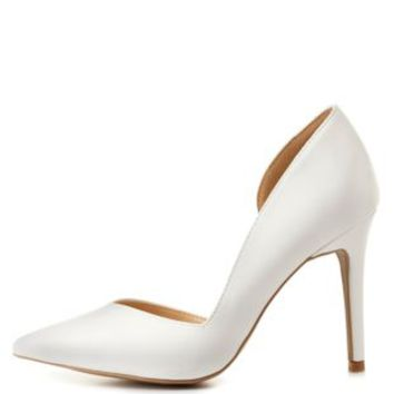 White D'Orsay Pointed Toe Pumps by Charlotte Russe