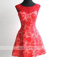 Handmade Red Lace Short Prom Dress/ Gorgeous Cocktail Dress/ Formal Dress/ Champagne Homecoming Dress/ Qipao Dress/Bridesmaid Dress