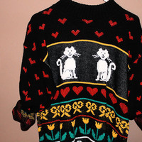 oversize sweater CAT abstract tumblr hipster grunge cute comfortable oversized one size fits all