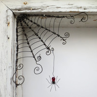 """Czechoslovakian Red Spider Dangles From 12""""  Barbed Wire Corner Spider Web"""