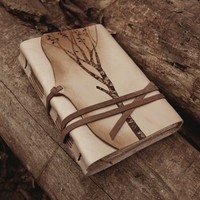 Leather Journal, Notebook, Diary in Brown and Beige with Vintage Style Old Paper - Memories of a Tree