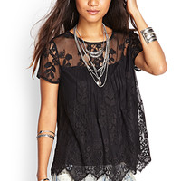 FOREVER 21 Embroidered Floral Knit Top Black