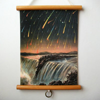 """Mini Vintage """"Pull Down"""" Educational Chart Style Wall Hanging Print on Fabric with Stained Wood Trim - Meteor Shower"""
