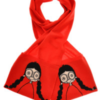 MARC BY MARC JACOBS MISS MARC Intarsia Red Scarf - ACCESSORIES | SCARVES | Wool Scarves | PRET-A-BEAUTE.COM
