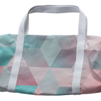 pink & blue duffle bag created by duckyb | Print All Over Me