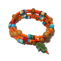 Colorful Orange and Wood Beaded Memory Wire Bracelet with Olive Hamsa Charm, Good Luck Bracelet