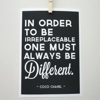 Always Be Different Coco Chanel Quote Art Print Archival A4 Print