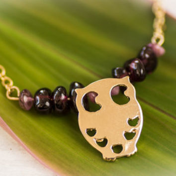 Owl necklace, Gold owl necklace ,amethyst necklace, tourmaline necklace,owl pendant, Gold owl charm, gold filled necklace,