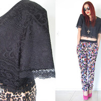 Vintage 80's lace cropped top summer  grunge goth hippie bohemian boho festival boxy top jacket
