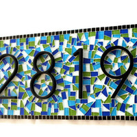 Outdoor House Number Sign, Mosaic Address Plaque