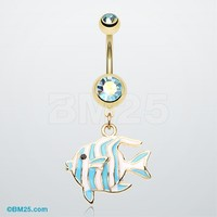 Golden Tropical Stripe Fish Belly Button Ring