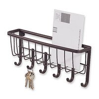 Wall Mount Bronze Mail & Key Rack