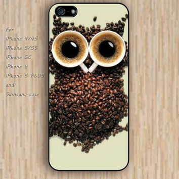 iPhone 5s 6 case coffee owl colorful phone case iphone case,ipod case,samsung galaxy case available plastic rubber case waterproof B501