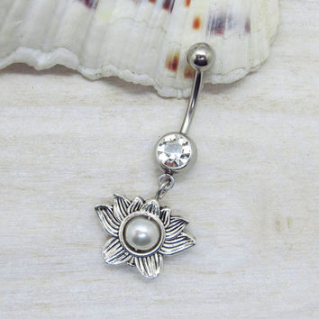 Antique silver disc lotus flower belly button rings,  lotus flower belly button jewelry,  flower navel jewelry, unique gift