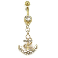 navy series body jewelry anchor Belly button Ring gold anchor piercing Accessary 316L medical stainless steel navel ring/nail gift for her