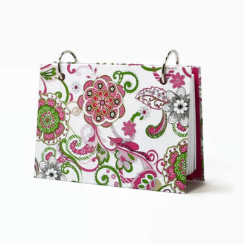 Index card binder, moire fleur floral, pink and green, recipe card holder, journal diary, card holder with a set of index card dividers